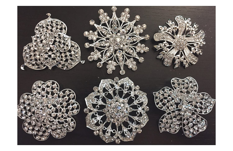 6 pcs Wholesale Lot Rhinestone Crystal Brooch Bridal Wedding Bouquet Snowflake Vintage Cake Decoration Hair Comb Clip