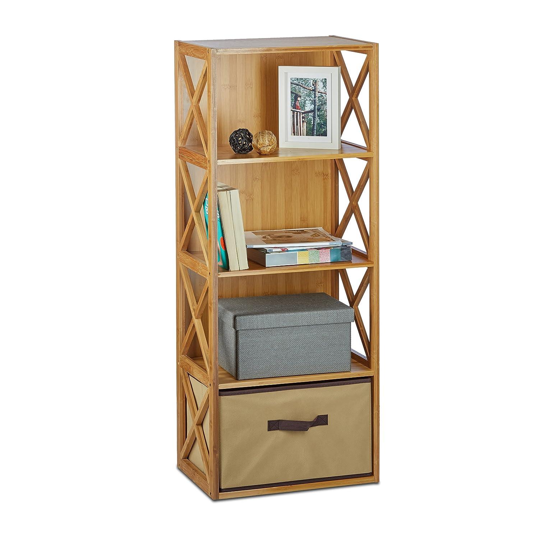 Relaxdays Etagère en bambou 4 niveaux avec panier de rangement bois nature HxlxP: 105 x 42 x 29 cm - nature