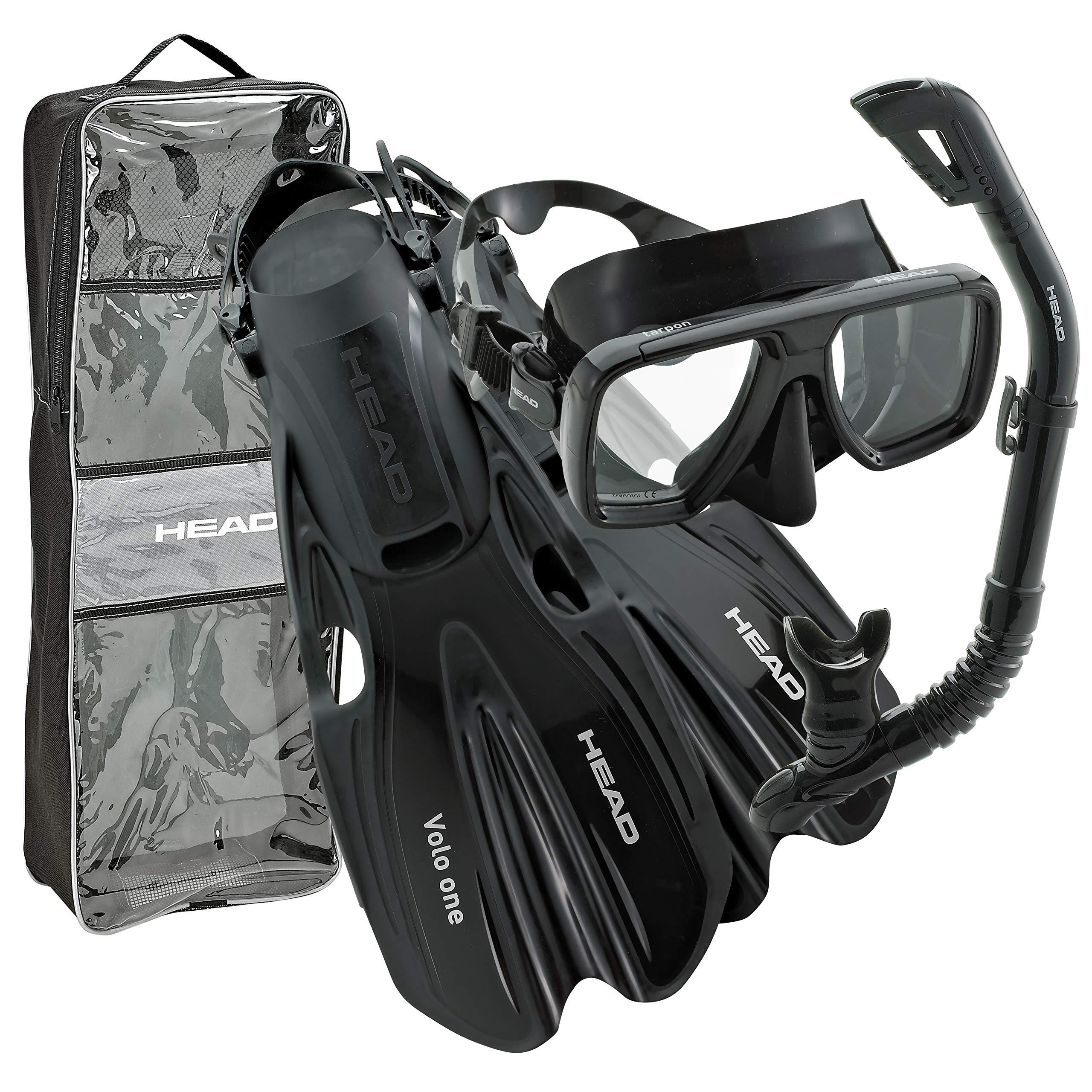 HEAD By Mares Tarpon Travel Friendly Premium Mask Fin Snorkel Set, Black, Small, (4-6)