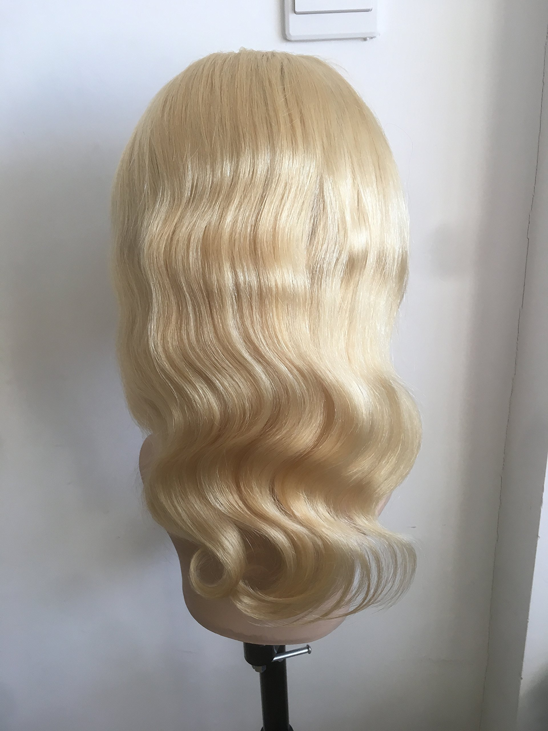 100%10A HUMAN HAIR CHINESE VIRGIN REMI FULL LACE WIG LADY WIG BLOND COLOR (12inch) by Superiorlacewigs (Image #2)