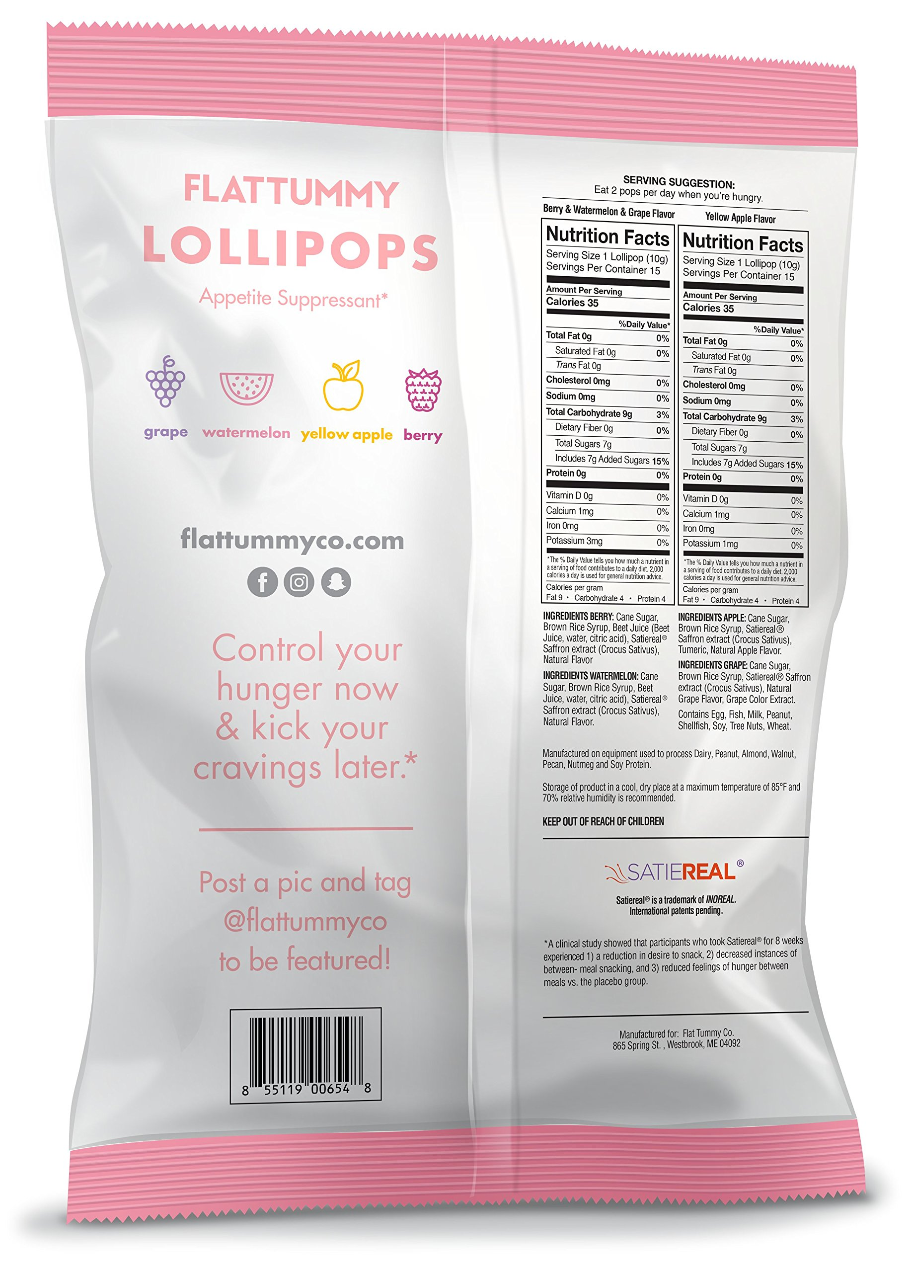 Flat Tummy Appetite Suppressant Lollipops | The Best All Natural Suckers, 4 Great Flavors + Apple, Grape, Watermelon & Berry + Suppress Cravings, The Perfect Low Calorie Diet Candy by Flat Tummy Co. (Image #3)