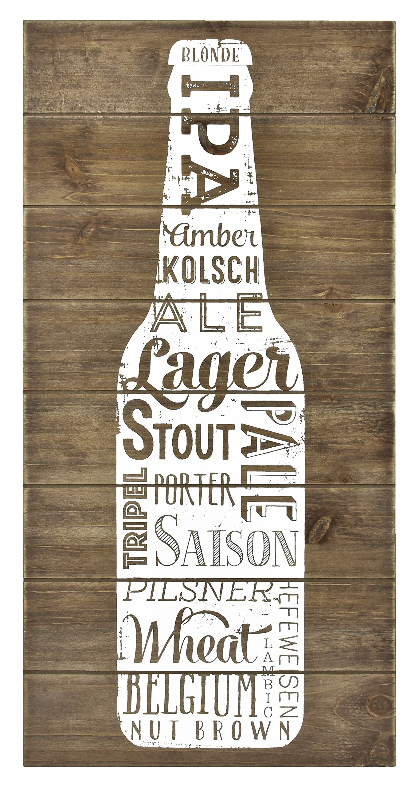 MCS Bar None Wood Plank Beer Varieties Wall Art, 10''x20'', Brown