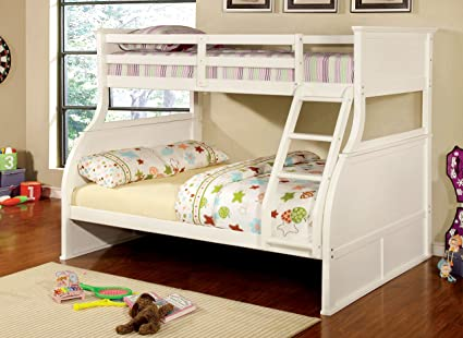 Amazoncom Furniture Of America Brenna Twin Full Bunk Bed White