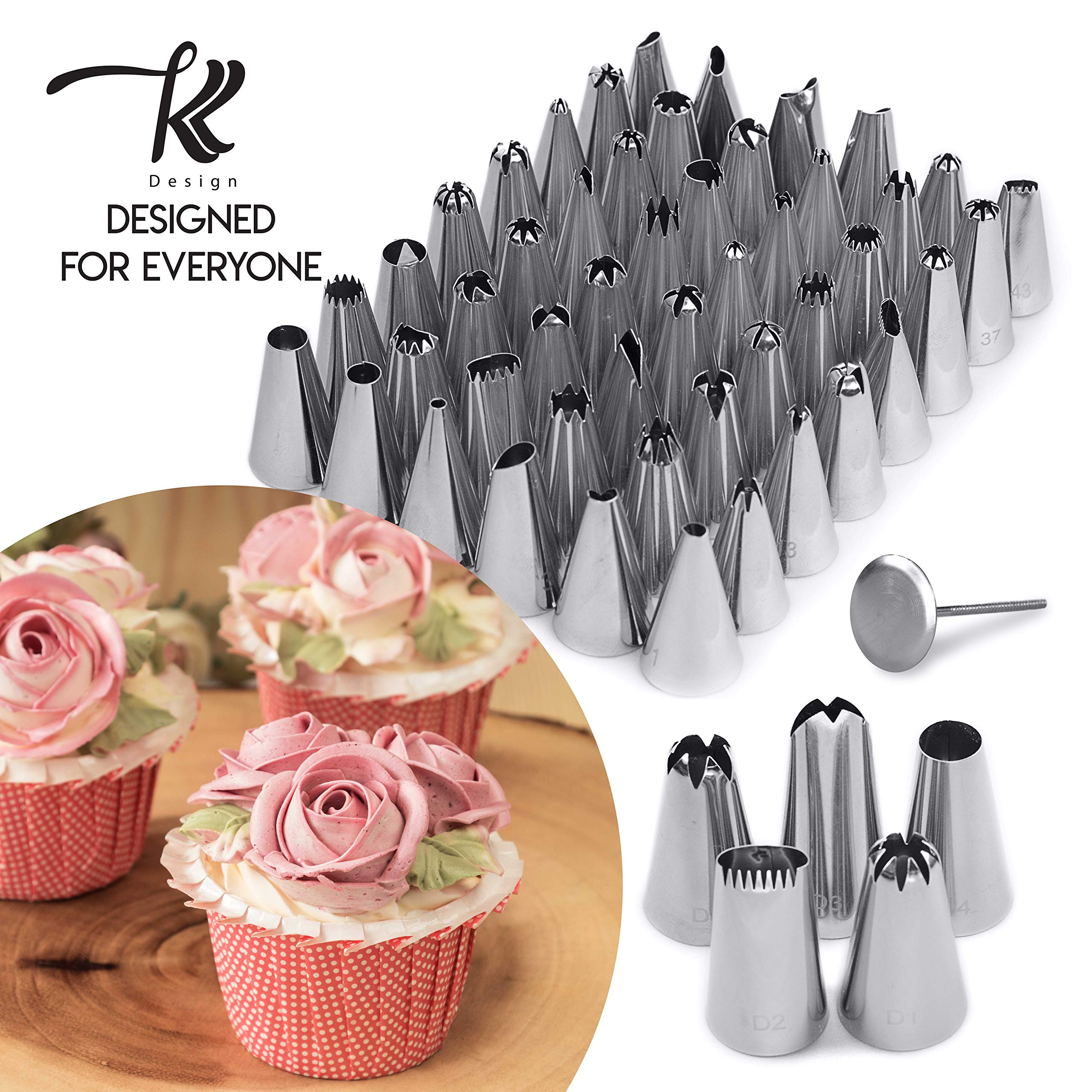 186 Pcs Cake Decorating Supplies Kit,Aluminium Rotating Turntable Stand,Frosting Piping Tips,100 Disposable Bags,Couplers,Scrapers,Spatulas,Cutter,Smoother,Flower Nails,Lifter,Baking Tools Set by K&K Design (Image #2)