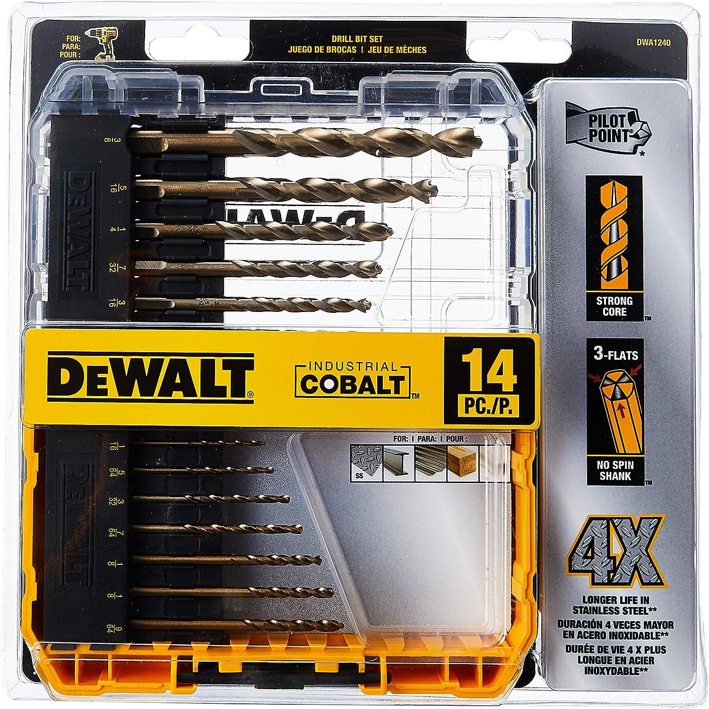 B015J5HU4Y DEWALT Cobalt Drill Bit Set with Pilot Point, 14-Piece (DWA1240) 91lY4xi6GlL