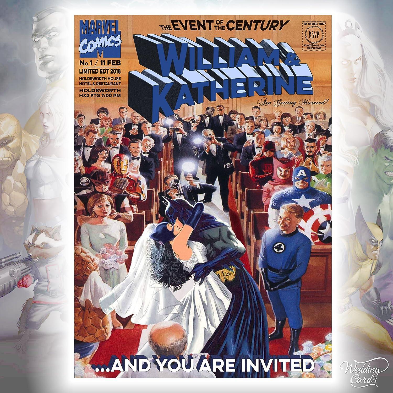 Spiderman /& ~ Mary Jane Spider Man Batman /& Catwomen Fant/ástico 4 Marvel Comics boda cumplea/ños Ticket Invitaci/ón Robin Joker DC Liga /Única Boda D/úplex Impresi/ón Ambos Lados Personalizado Cualquier Tama/ño Cu