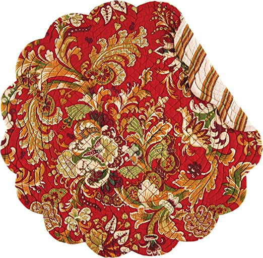 C /& F Quilted Products Jocelyn Christmas Red Round Placemat-Set of 4