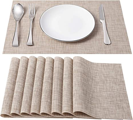 Coffee Bright Dream Placemats Easy to Clean Woven Plastic Placemats for Kitchen Placemat Stain Insulation Table Mats Set of 4