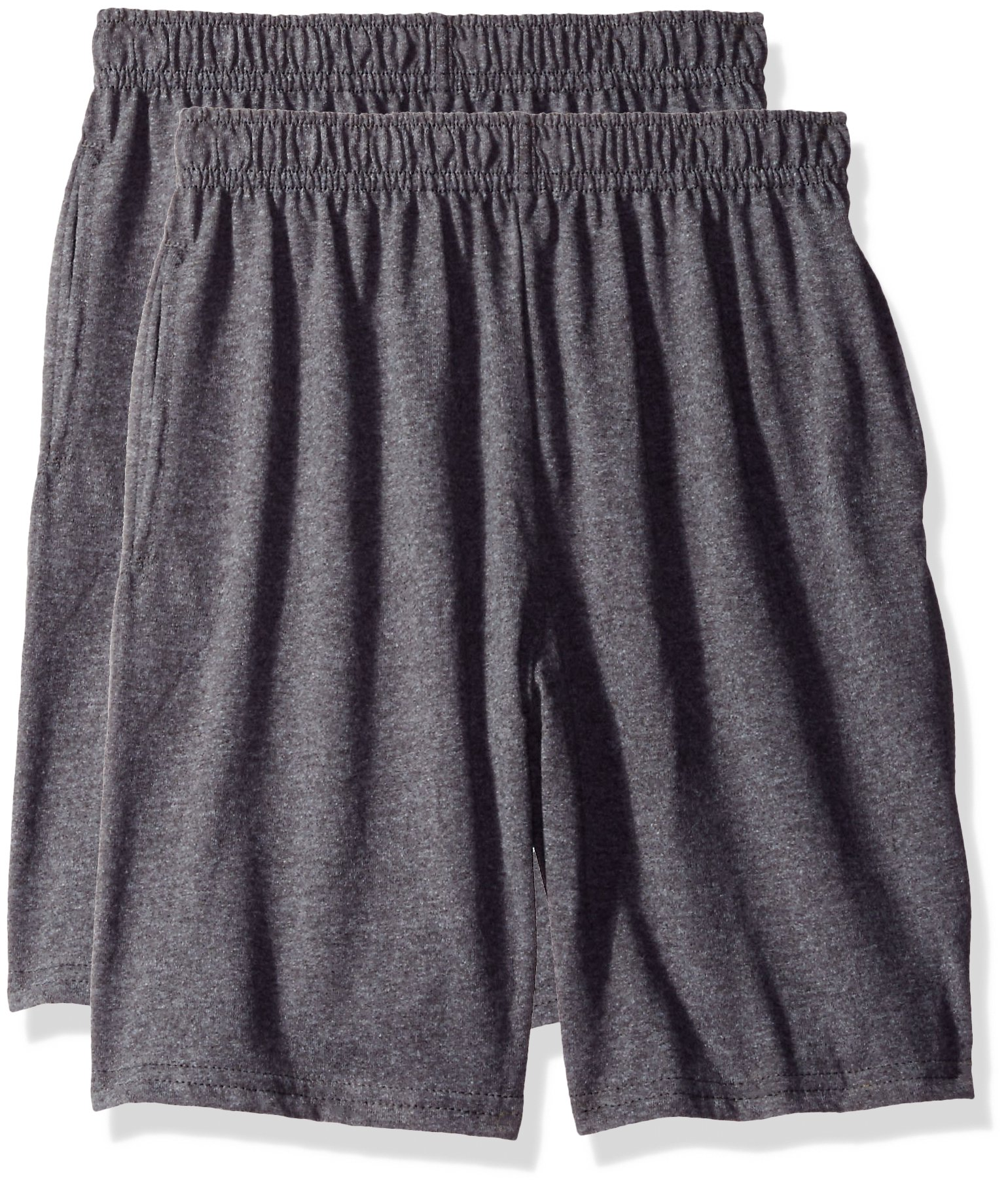 Hanes Big Boys' Jersey Short (Pack of 2), Charcoal