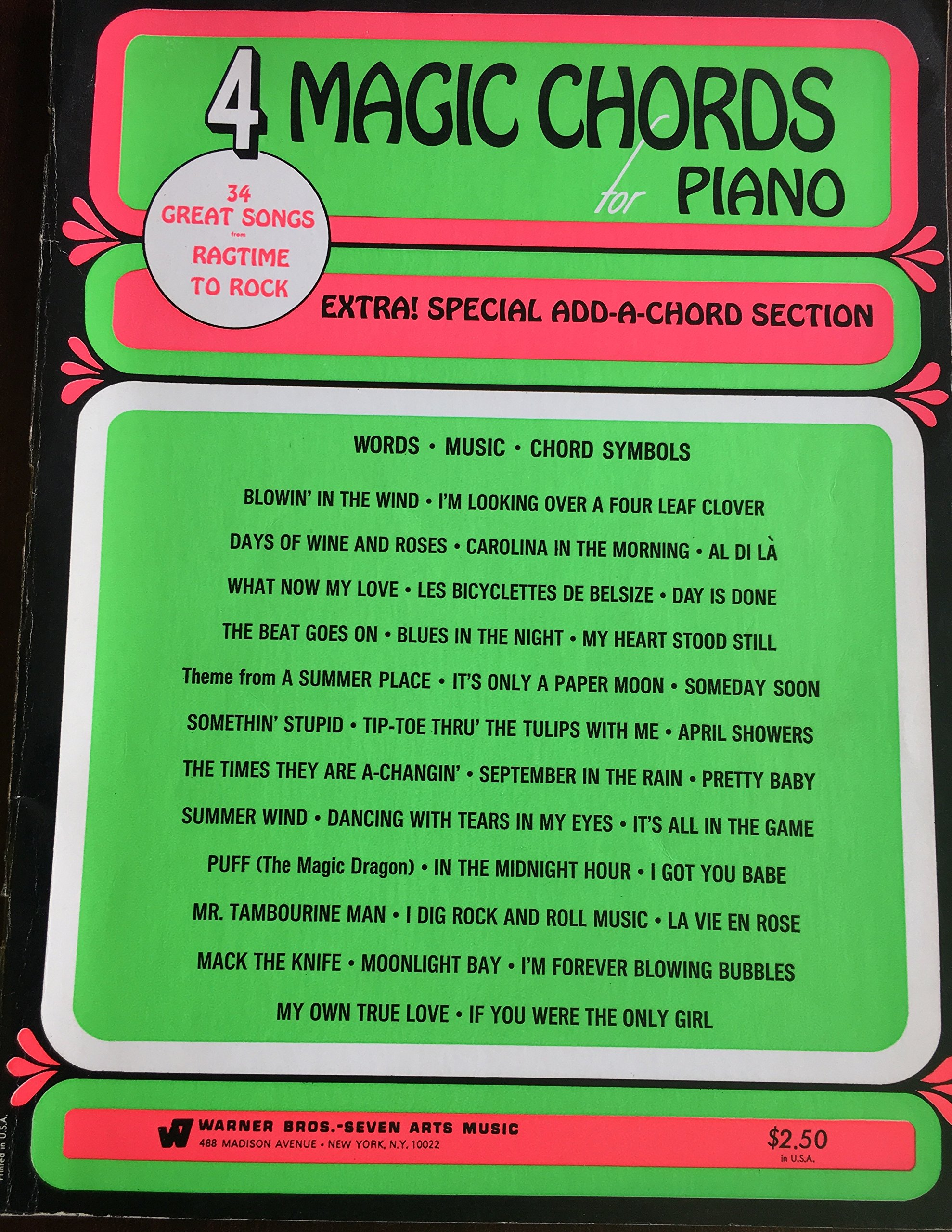 4 Magic Chords for Piano: 34 Great songs from Ragtime to