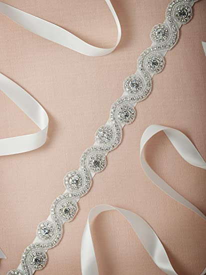 Remedios Bridal Sash Wedding Belt with Diamond Design For Women Gifts Nice Gifts, Ivory at Amazon Womens Clothing store: