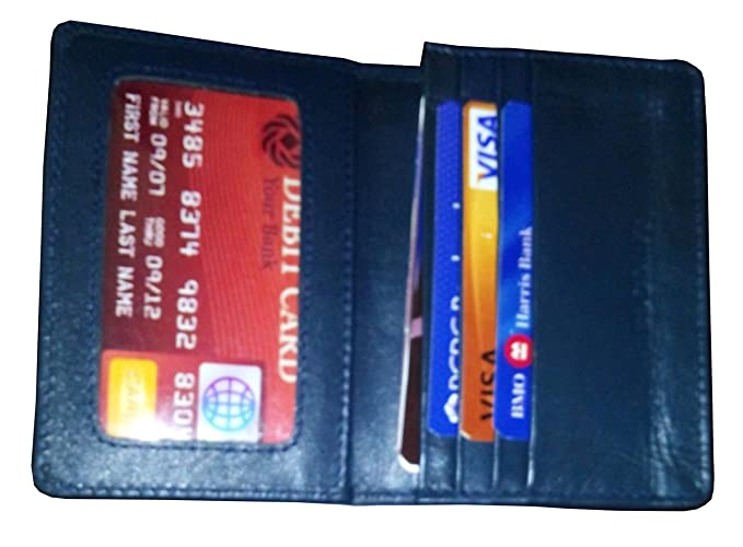 Bdgiant unisex genuine leather slim business card credit card id bdgiant unisex genuine leather slim business card credit card id holder wallet navy reheart Gallery