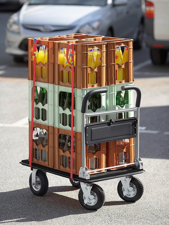 Klappbar Meister Plattformwagen super cross-over Bis 300 kg Tragkraft Feststellbremse // Transporthilfe mit Lenkrollen // Paketwagen mit Luftbereifung // Klappwagen aus Stahl // 8985700