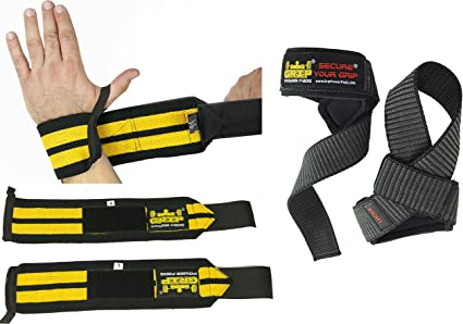 Wrist Lifting Straps Support With Hook Grips Weight Gym Training Bandage L