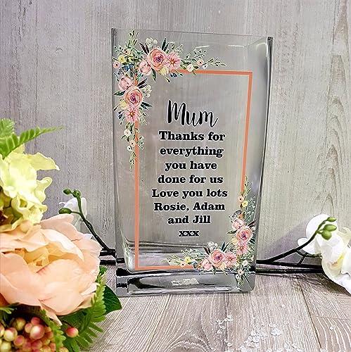 ddf5e5b1753 Personalised Birthday Tall Glass Flower Vase Printed Gorgeous watercolour  design  Amazon.co.uk  Handmade