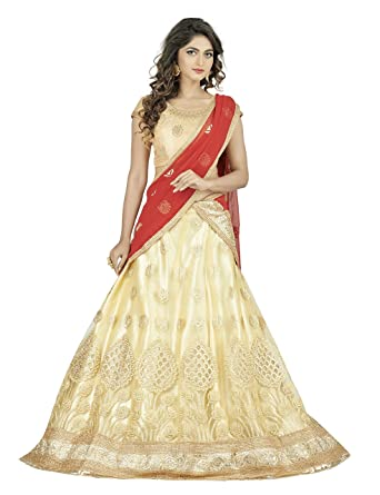 27621b0a1f9 Women s Net Lehenga Choli (rbsy rockon806 beige Buttermilk Beige Free  Size)  Amazon.in  Clothing   Accessories