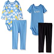 Gerber Baby 4 Piece Bodysuit and Pant Set, love, 0-3 Months