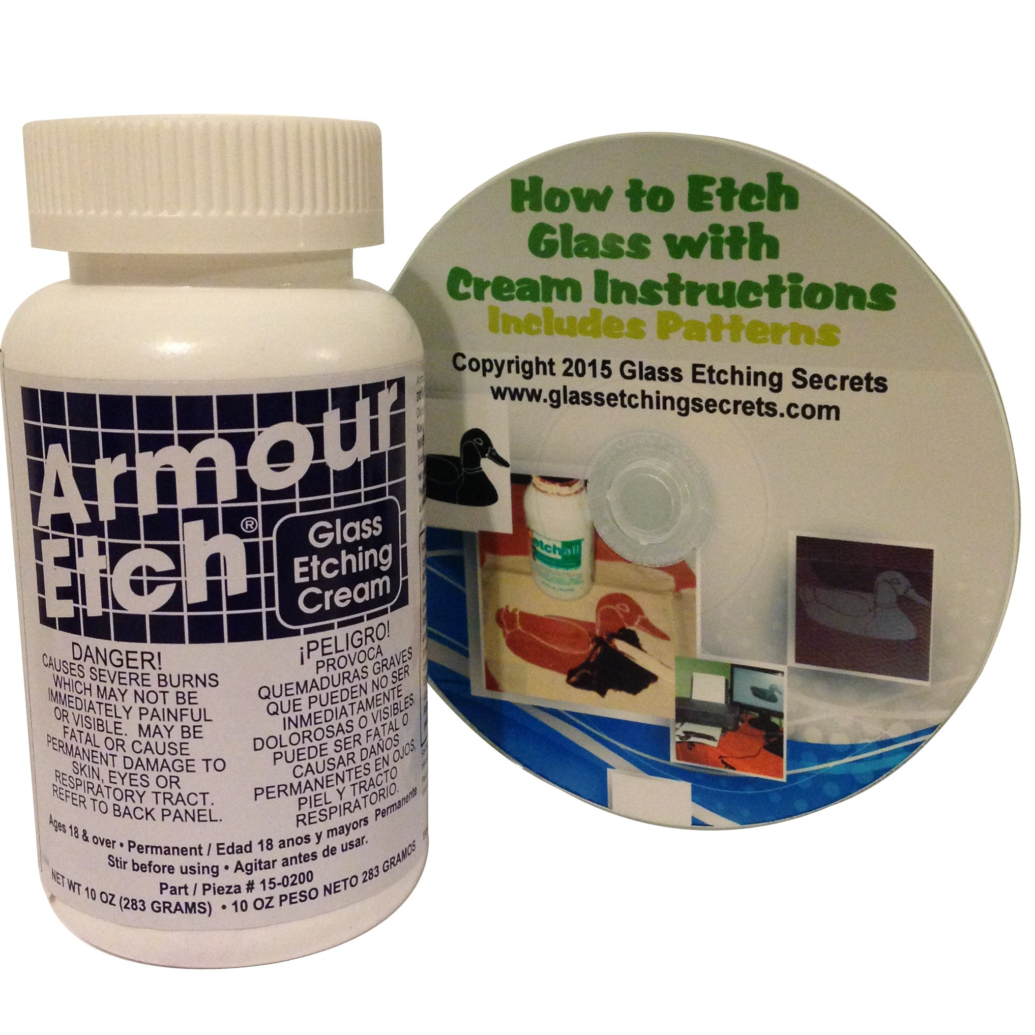 Glass Etching Cream, 10-Ounce by Armour Etch: Includes How to CD & Free Patterns by Armour Etch