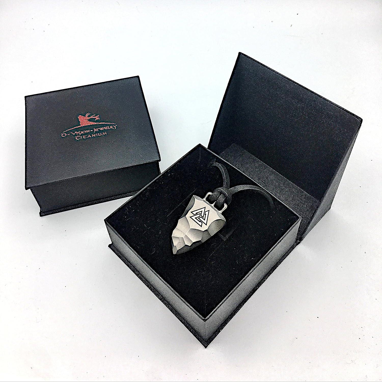 D-Vision-Jewelry Titan Faustkeil Valknut Amulett aus Reintitan Herrenschmuck Odin Wotansknoten Anh/änger Lederband