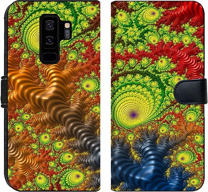 Amazon Com Samsung Galaxy S9 Plus Flip Fabric Wallet Case Image Of Background Flower Color Design Abstract Decoration Illustration Wallpaper Floral Art Decorative Orange P