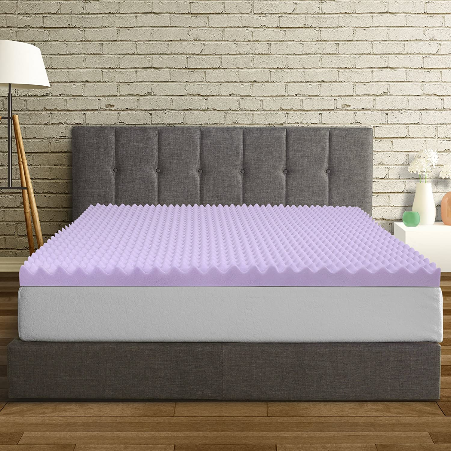 Best Price Mattress King Mattress Topper - 3 Inch Egg Crate Memory Foam Bed Topper with Lavender Cooling Mattress Pad, King Size