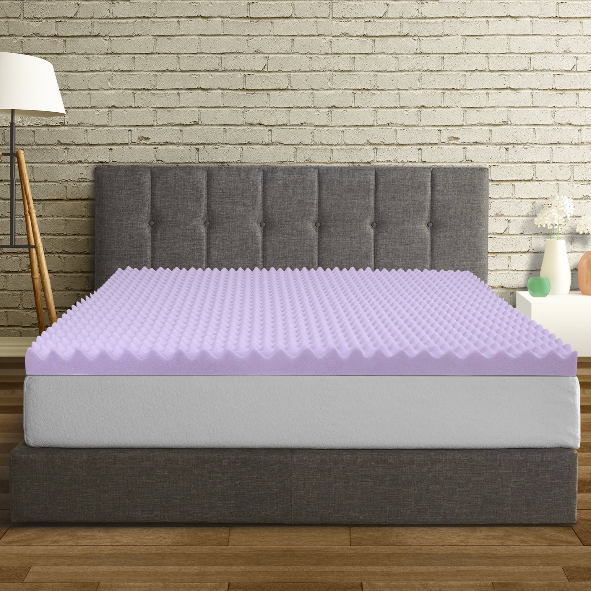 Best Price Mattress Full Mattress Topper - 3 Inch Egg Crate Memory Foam Bed Topper with Lavender Cooling Mattress Pad, Full Size
