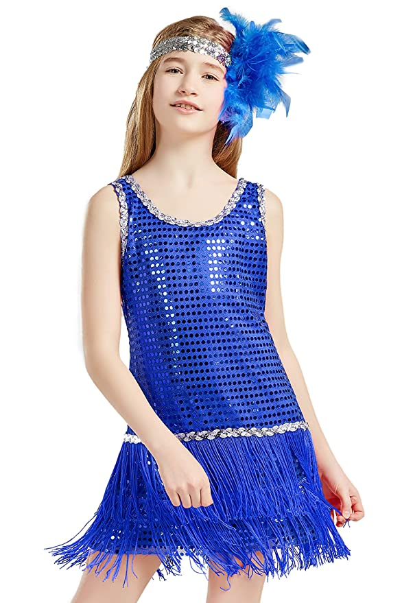 Vintage Style Children's Clothing: Girls, Boys, Baby, Toddler BABEYOND Girls 1920s Flapper Dress Headband Art Deco Gatsby Sequin Dress for Kid $21.99 AT vintagedancer.com