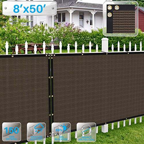 Patio Paradise Privacy Fence Screen 8 x 50 Feet Brown Commercial Outdoor Backyard Shade Windscreen Mesh Fabric with Brass Gromment 85 Blockage- 3 Years Warranty Customized