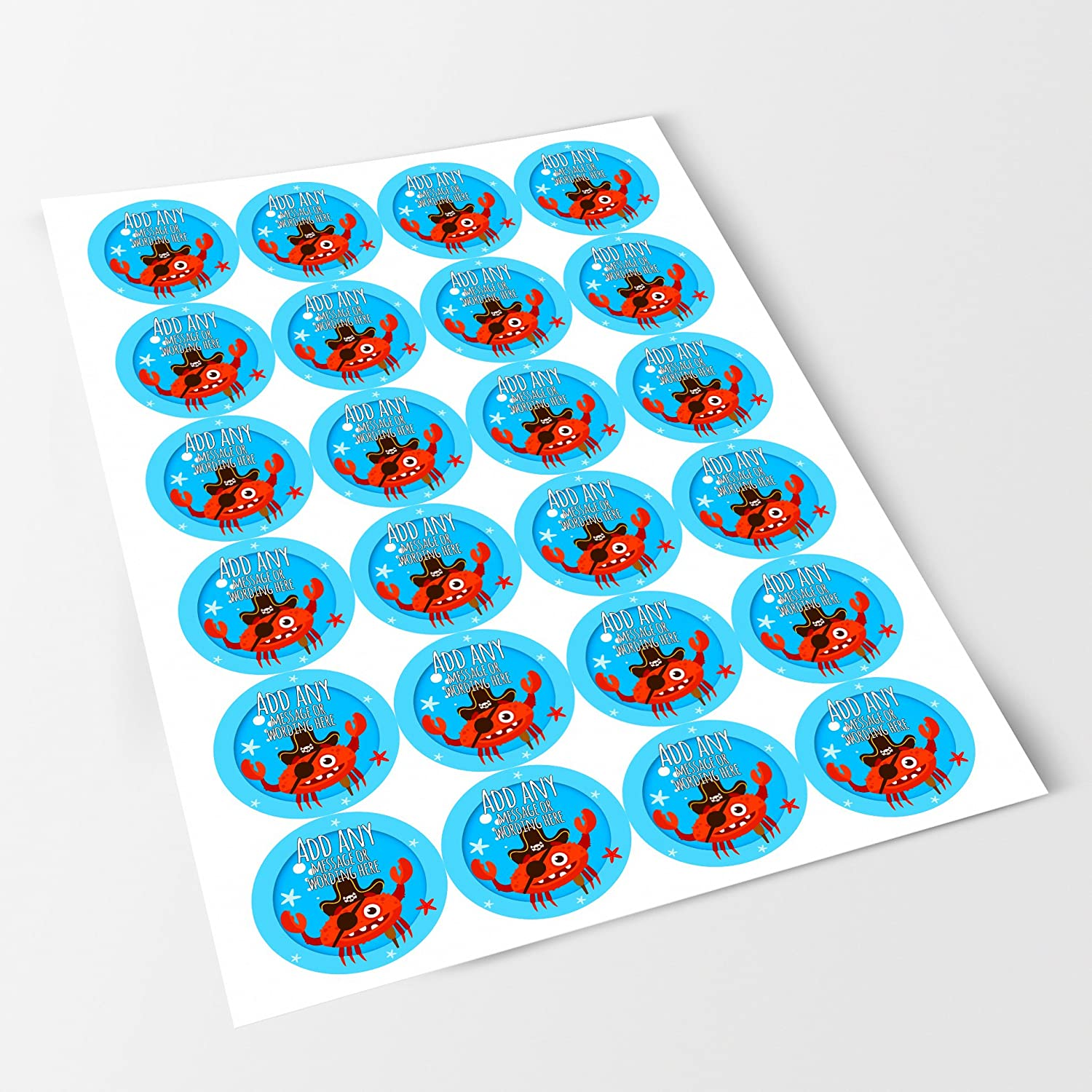Jars Crafts Bottles Favours Crab Sticker Labels Personalised Seals Ideal for Party Bags Presentations Gift Boxes Sweet Cones