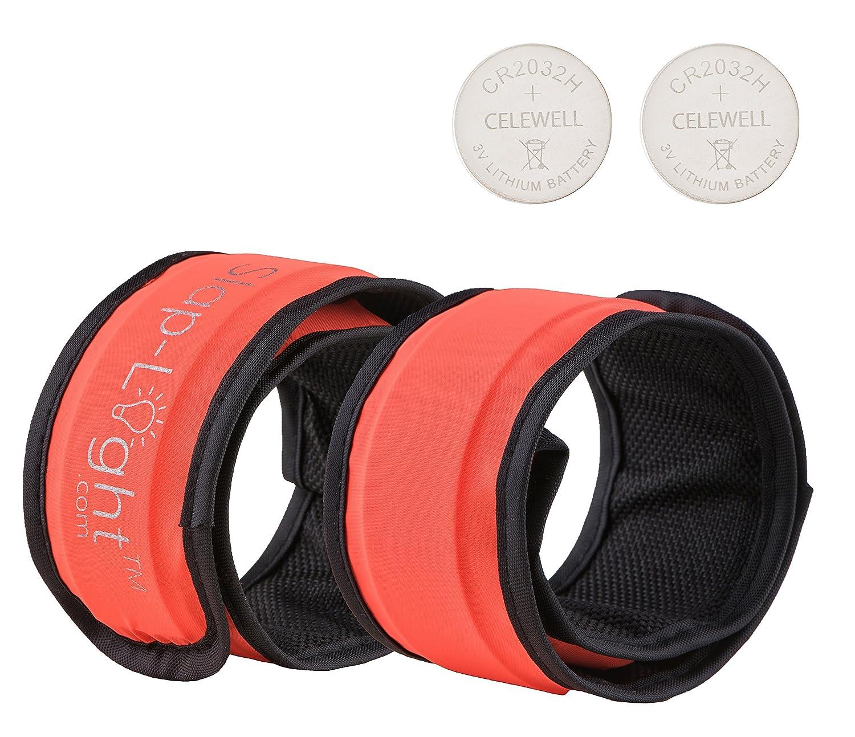 Slap-Light 2 Bandas LED con 2 Pilas de Repuesto/brazaletes/Pulseras/Multiusos Deporte al Aire Libre/Seguridad/Reflectante – Caminar, Correr, Ciclismo por la Noche, Anaranjado