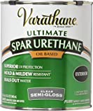 Rust-Oleum Varathane 9441H 1-Quart Classic Clear Oil Based Outdoor Spar Urethane, Semi-Gloss Finish