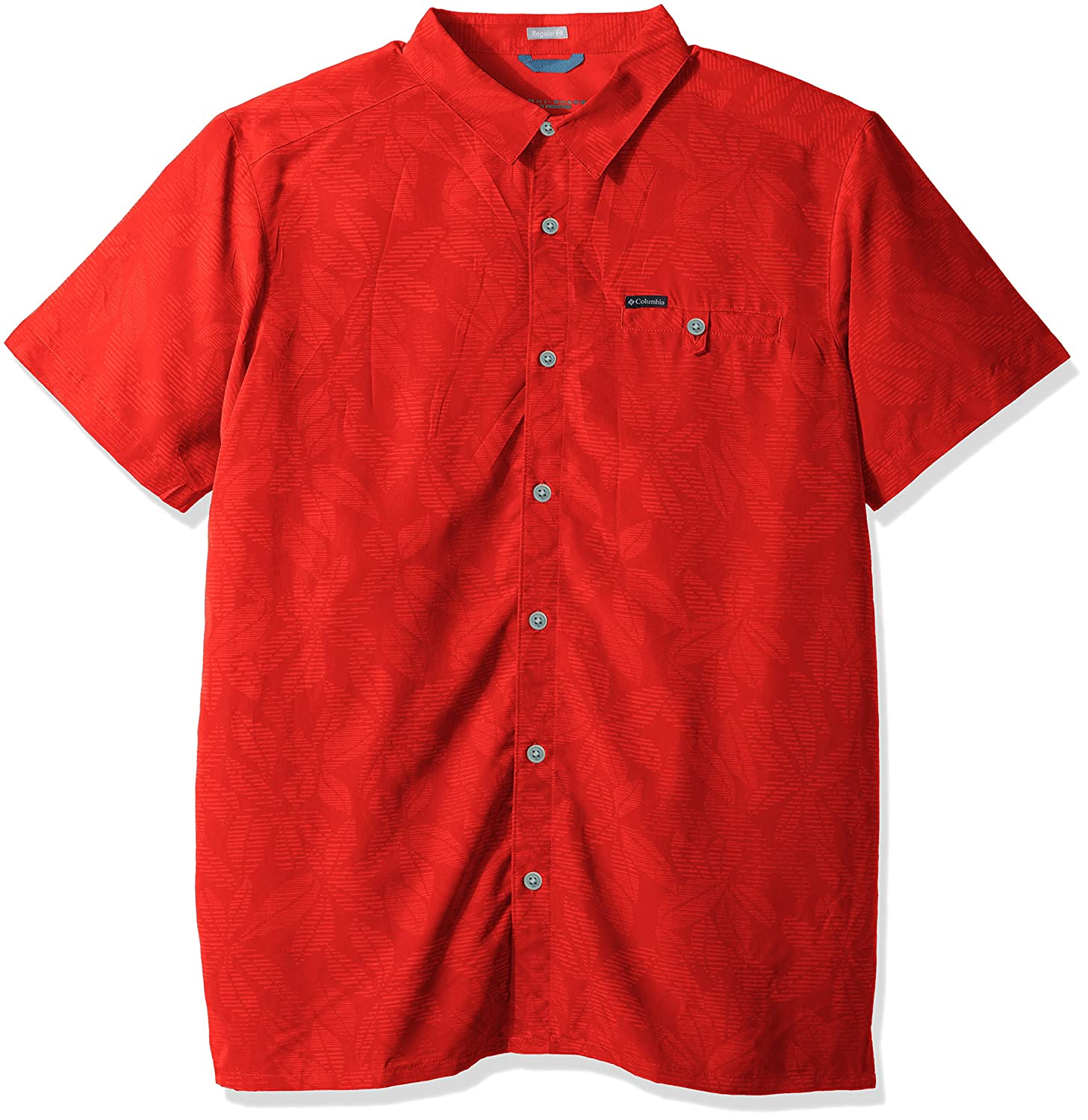 Sunset Red Floral Lines XLarge Tall Columbia Big and Tall Declination Trail Ii Big & Tall Short Sleeve Shirt