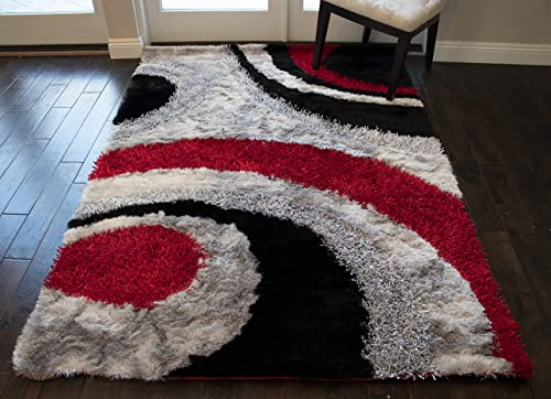 5 x7 Feet Red Silver Black Colors 3D Carved Pattern Rectangular Fluffy Modern Contemporary Canvas Backing Shag Shaggy Floor Furry Fuzzy Pile Area Rug Carpet Rug Decorative Designer Hand Woven