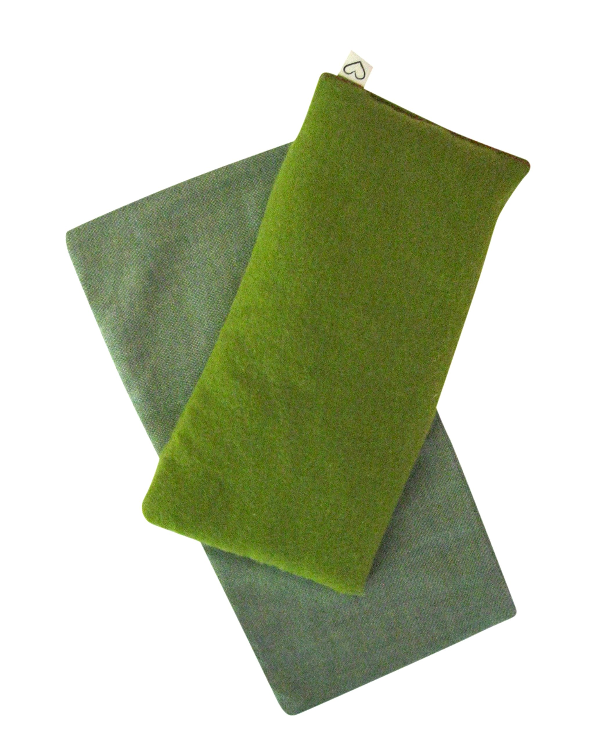 Unscented Eye Pillow with Cover - Gift Set - 4 x 8.5 - Organic Flax Seed - Soft Cotton Flannel - Washable - Soothing Relaxing - kiwi green by Peacegoods