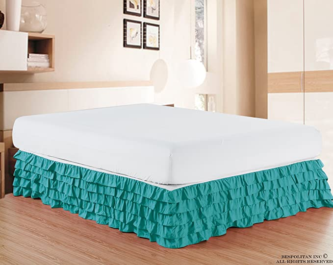 Elegant Comfort Luxurious Premium Quality 1500 Thread Count Wrinkle And Fade Resistant Egyptian Quality Microfiber Multi Ruffle Bed Skirt 15inch Drop Twin Turquoise Home Kitchen