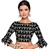 STUDIO Shringaar Women's Black Ikat Print Pure Cotton Stitched Saree Blouse With Frilled Sleeves