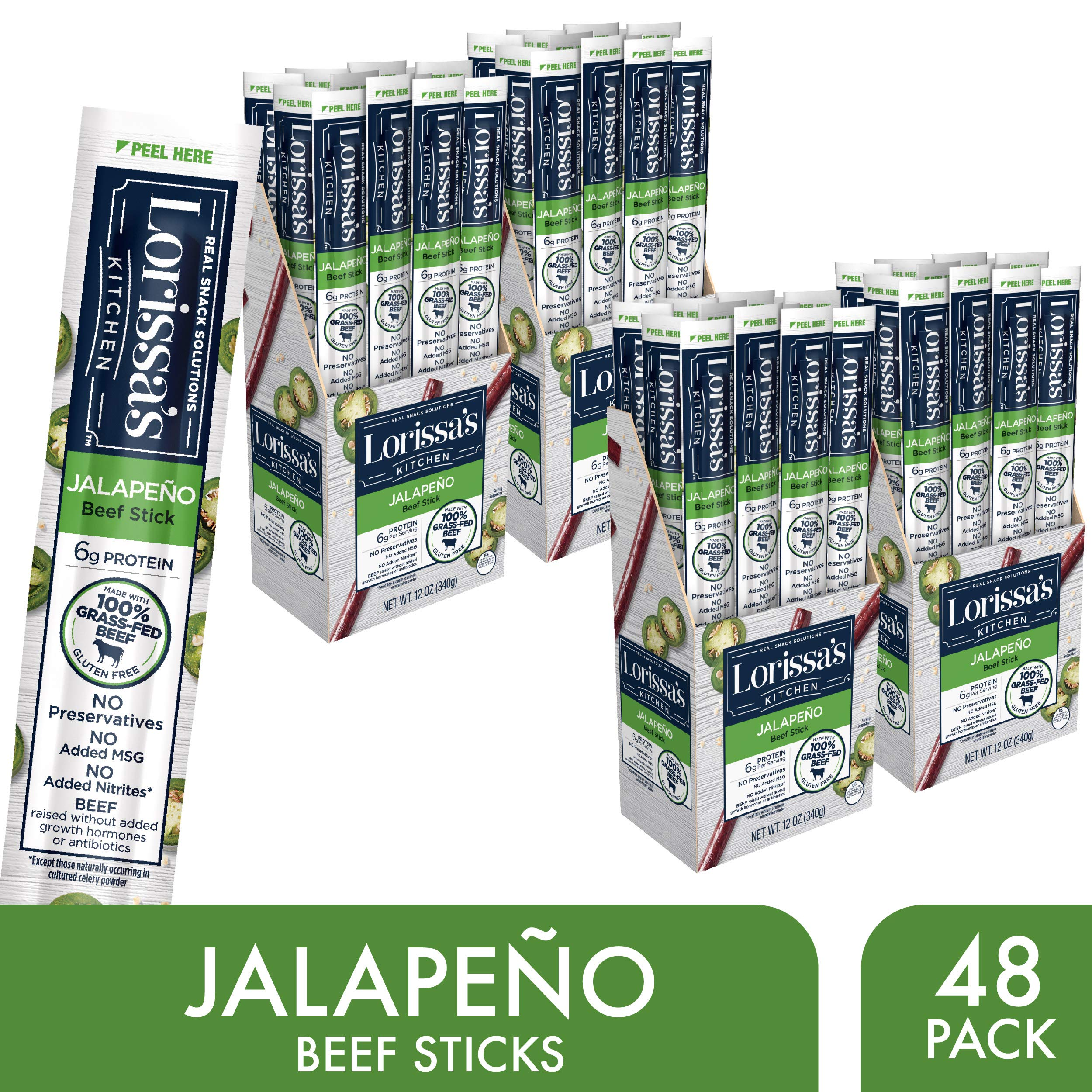 Lorissa's Kitchen Grass Fed Beef Sticks, Jalapeño, 1 oz., Pack of 48 - Made with 100% Grass-Fed Beef, Keto Friendly Snacks, Gluten Free, No Added Nitrites or Nitrates - (Packaging May Vary) by Lorissa's Kitchen