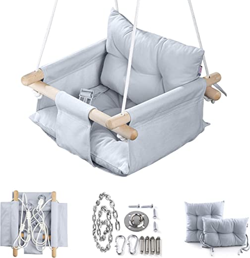 Canvas Baby Swing by Cateam - Grey - Wooden Hanging Swing Seat Chair for Baby with Safety Belt and mounting Hardware. Baby Hammock Chair Birthday Gift.