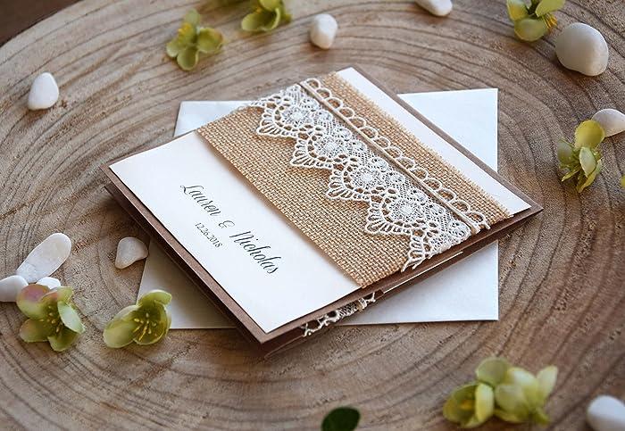 Amazon Com Burlap And Lace Wedding Invitation Kraft Pocketfold And