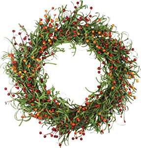Delicaft 16 Inches Blossom Fall Front Door Wreath - Lush and Beautiful Spring Wreath,Indoor/Outdoor Use (blue3)