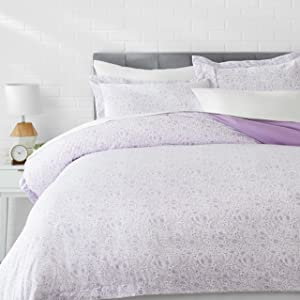 AmazonBasics Light-Weight Microfiber Duvet Cover Set - Full/Queen, Lavender Paisley