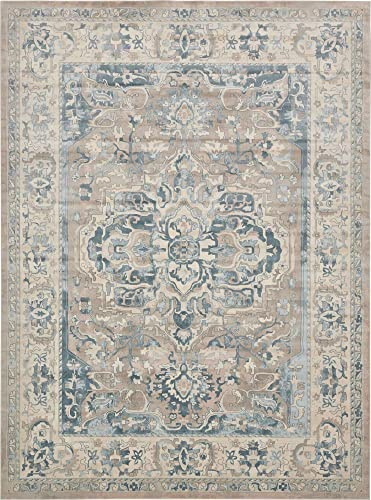 Unique Loom Paris Collection Pastel Tones Traditional Distressed Dark Gray Area Rug 10' 0 x 13' 0