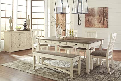 Borilanburg Casual Two Tone Color Rectangular Dining Room Set Table 4 Upholstered Side