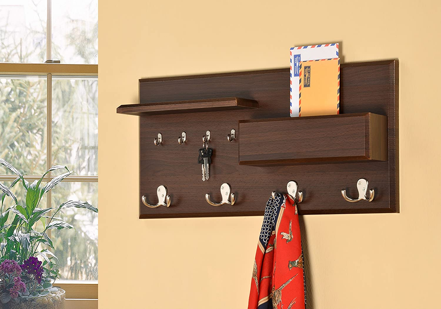 Amazon.com: Entryway Coat Rack Mail Envelope Storage and Key Holder ...