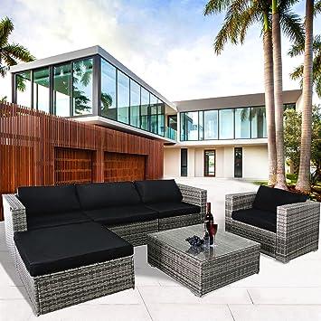 Cloud Mountain 6 Piece Rattan Wicker Outdoor Furniture Set Couch Patio  Sectional Set PE Rattan Garden