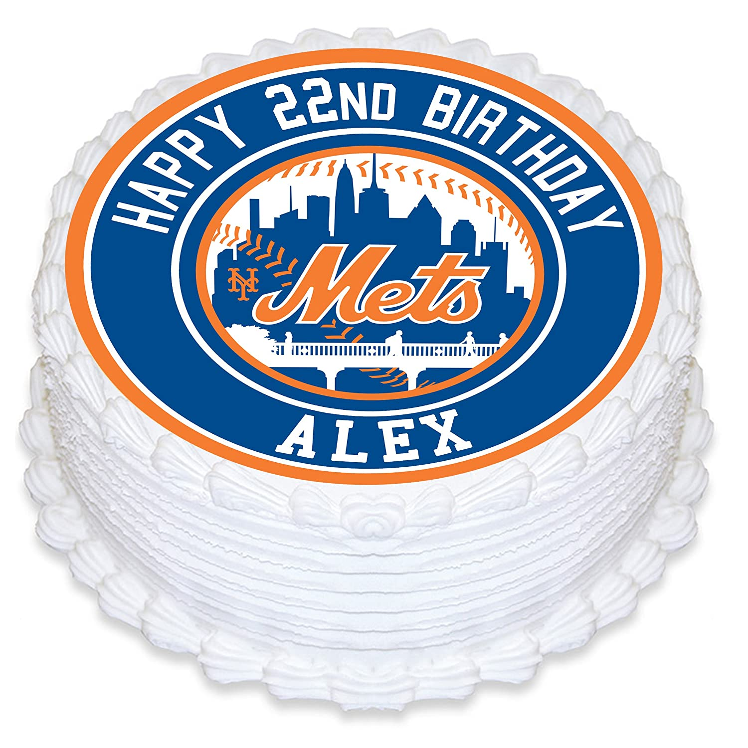 New York Mets Edible Image Cake Topper Personalized Birthday 8 Round Circle Decoration Custom Sheet Party Sugar Frosting Transfer Fondant