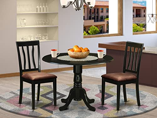 DLAN3-BLK-C 3 Pc Dinette Table set-Dining Table and 2 Dining Chairs