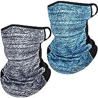 2 Pieces Neck Gaiter Ice Silk Bandana Scarf UV Protection Face Cover Summer Balaclava Headwear for Outdoors (Light Heather Grey, Dark Blue)