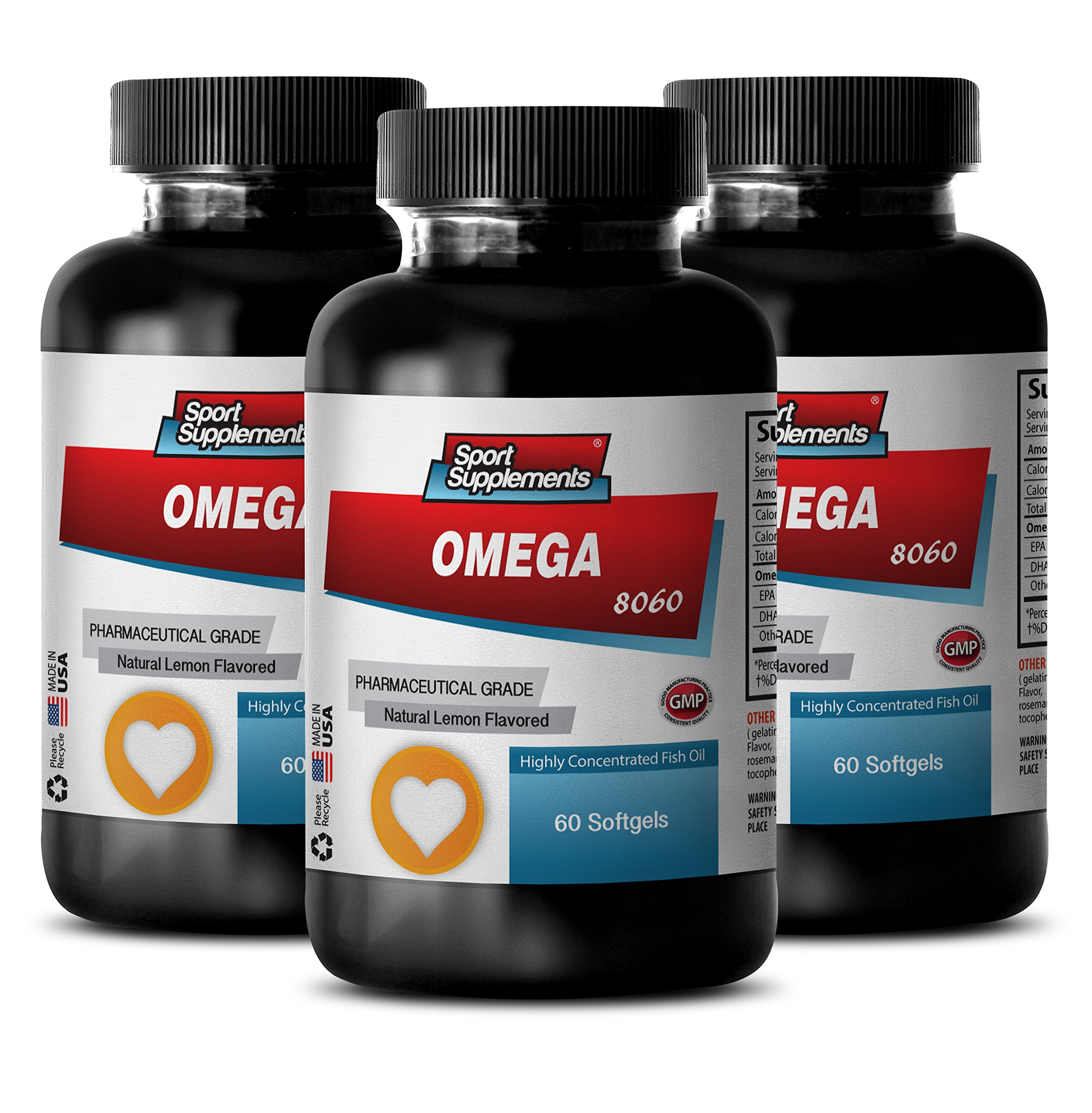 Immune support booster - OMEGA 8060 FATTY ACIDS 1500mg (Highly Concentrated Fish Oil - Pharmaceutical Grade) - Omega 3 high epa - 3 Bottles 180 Softgels