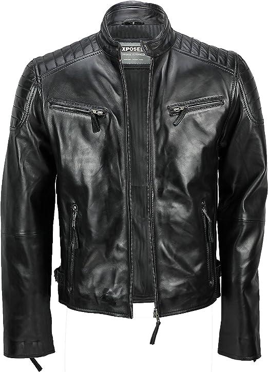 TALLA 3XL. Chaqueta de piel suave para hombre, corte ajustado, chaqueta estilo biker con cremallera, retro, color marrón lavado